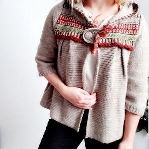 Lulumari Embroidered Chunky Hooded Knit Cardigan